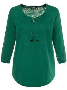 3-4-Arm-Shirt-Longshirt-Bluse-Tunika-gruen-Ulla-Popken-Gr-50-52-58-60-Neu