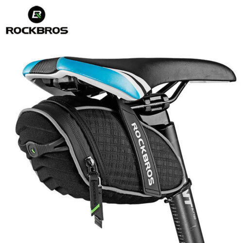 ROCKBROS Rear bags Rainproof Saddle Seat Bag Reflective Rear Seatpost Bag Black