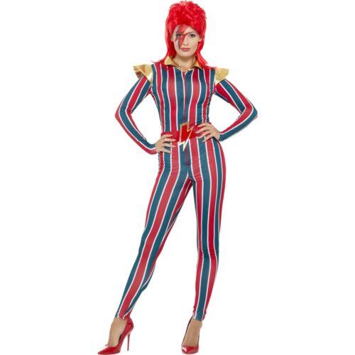 80/'s Miss Space David Bowie Iconic Jumpsuit Womens Ladies Fancy Dress Costume