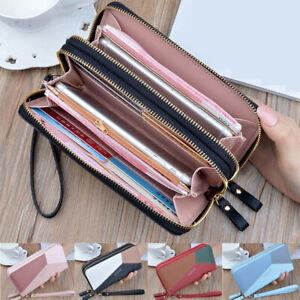 Women-Leather-Large-Capacity-Wallet-Double-Zipper-Wallet-Clutch-Phone-Pocket-UK