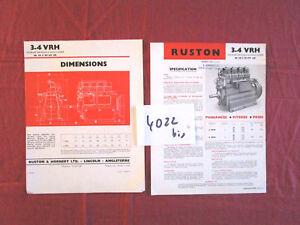 N°4022 bis / prospectus  RUSTON & HORNSBY moteur 3-4 VRH texte français  1947?