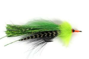Black /& Green Double Bunny Pike Fly Fishing Flies Predator Sakuma Manta Hooks
