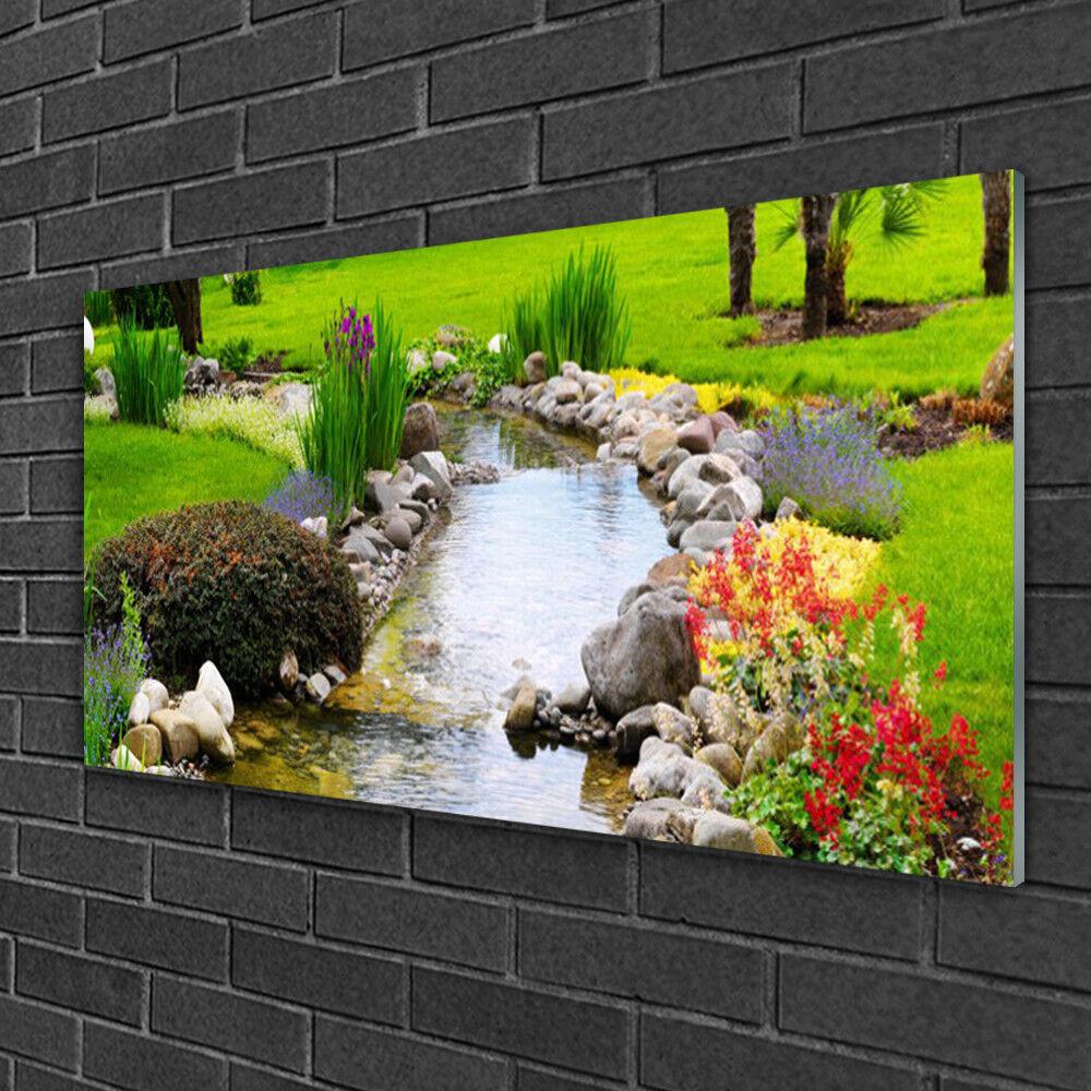 Image sur verre Tableau Impression 100x50 Nature Jardin Lac