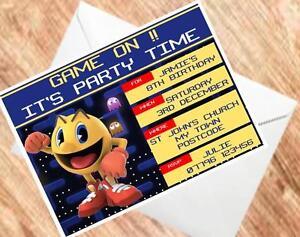 pac man invites retro party invitations 250gsm card ebay