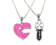NEW BFF Heart Lock and Key Best Friend Set Pendants 2 Necklace Friendship