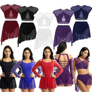 Adult-Women-039-Ballet-Dance-Gymnastics-Skate-Leotard-Dress-Lyrical-Skirts-Bodysuit