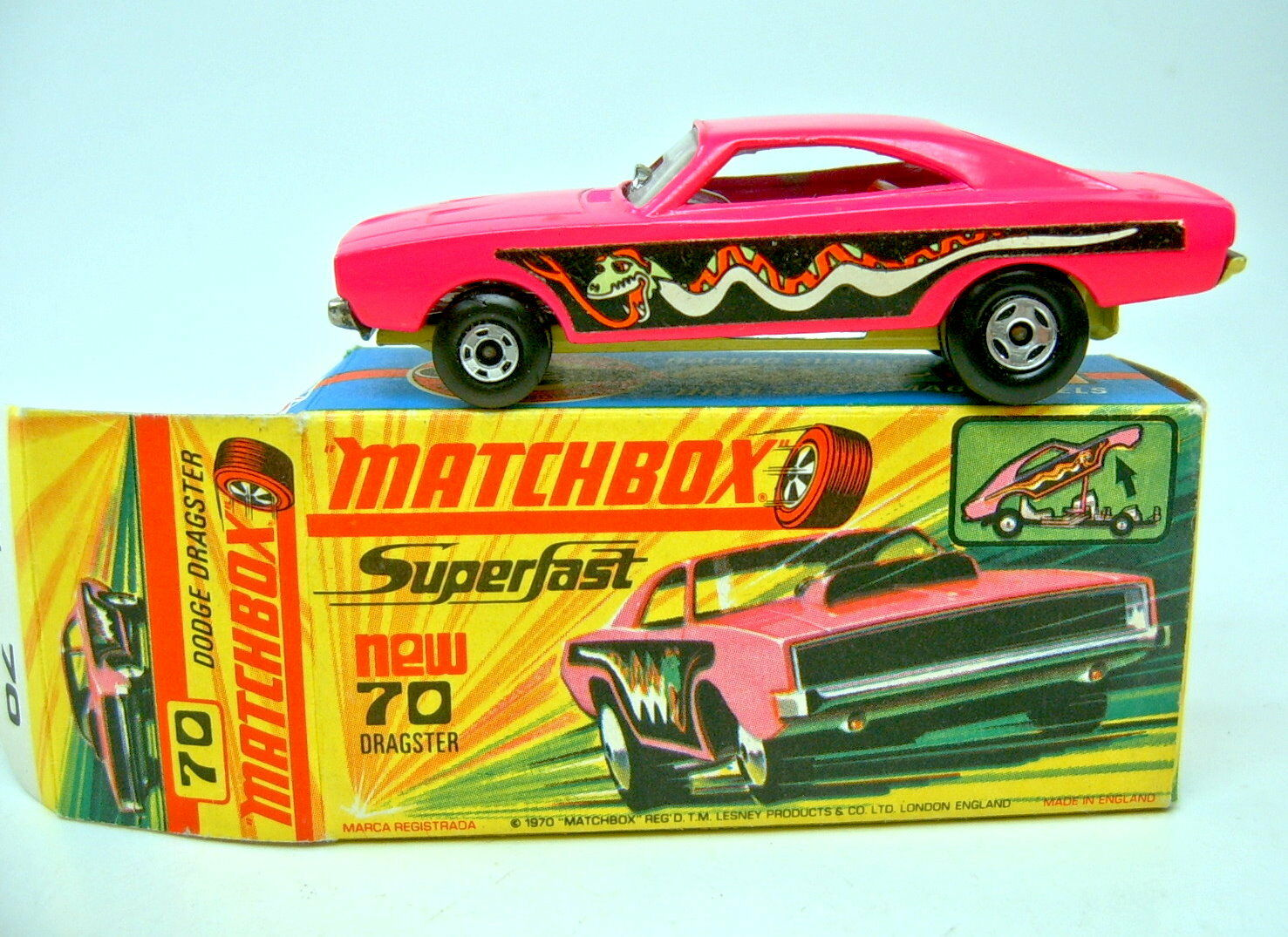 Matchbox Superfast Nr.70B Dodge Dragster rare dunkelyellowe Bpl. top in Box