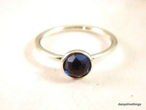 Authentic Pandora Ring September Droplet Synth Sapphire Birthstone