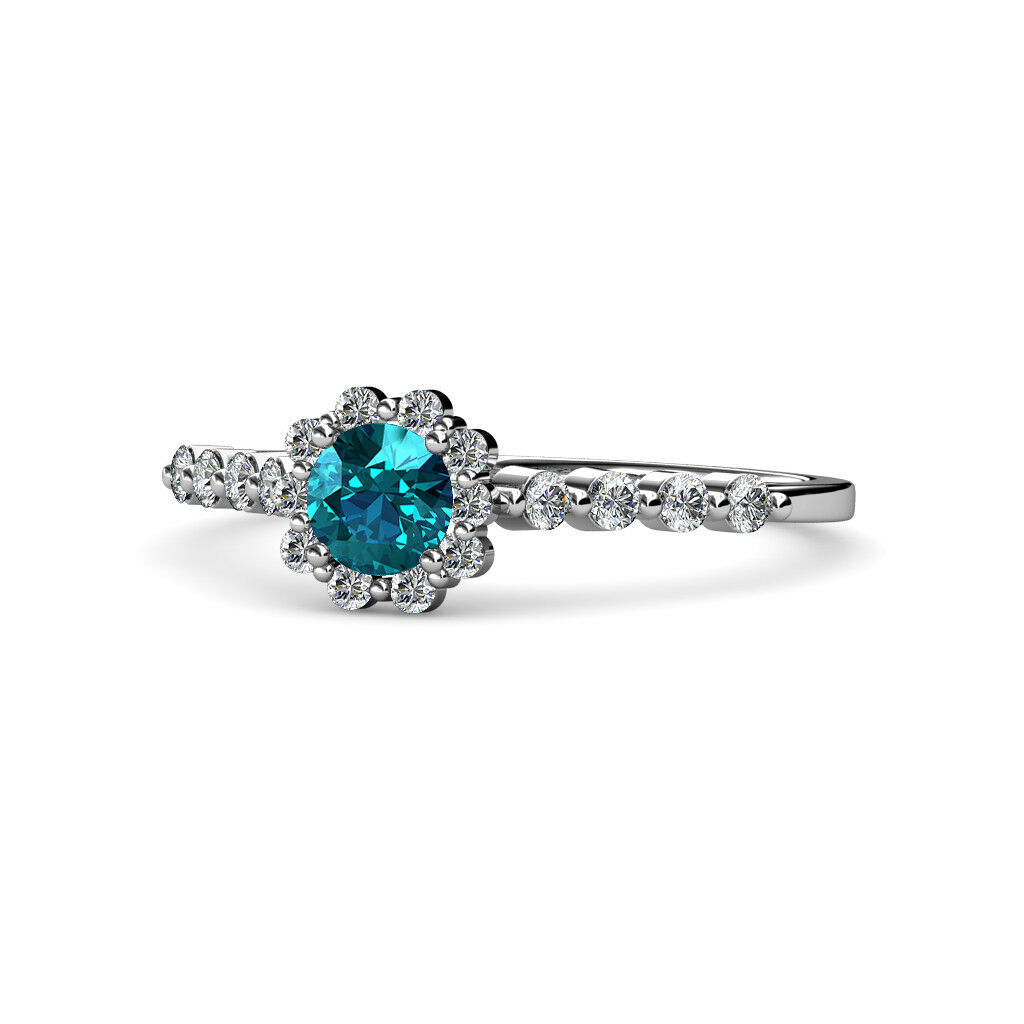 London bluee Topaz and Diamond Halo Engagement Ring 1.14 ctw 14K gold JP 68388