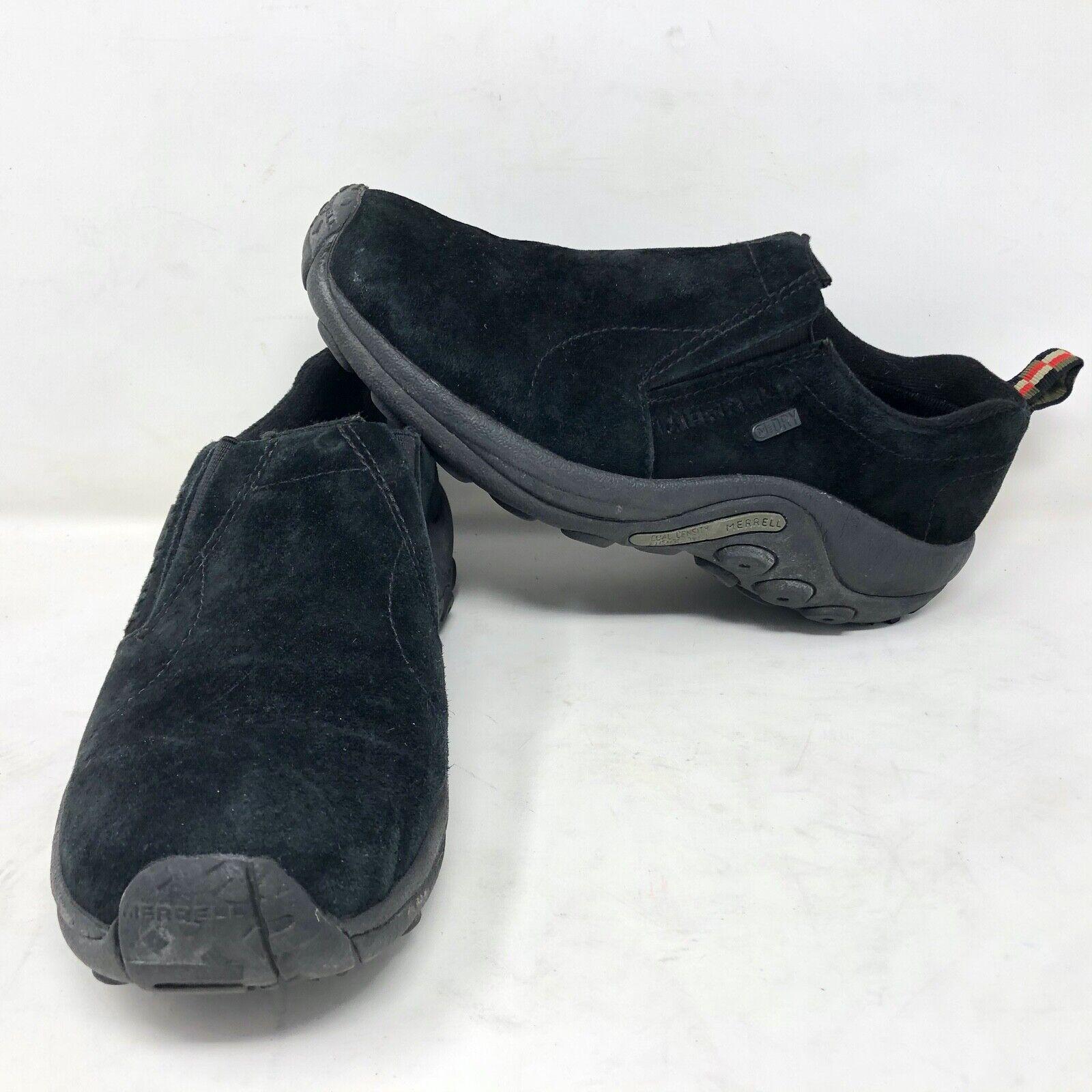 Merrell Jungle Moc NUBUCK NOIR Chaussures Cuir SZ 8 Lacet Randonnée Marche
