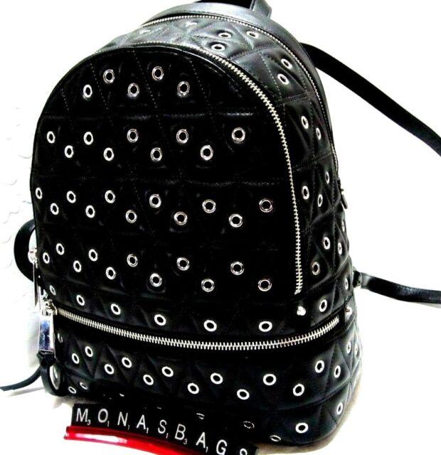 3f10224712ebb0 Michael Kors Black Quilted Leather Grommet Rhea Zip Medium Backpack NWT $398