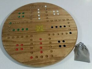 Marble-Game-Board-18-034-Wood-Puritan-Pine-Finish-with-Marbles-and-Dice