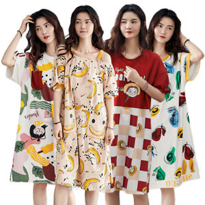Women Cartoon Pattern Pajamas Sleepwear Dress Nightdress Night Gown Short Sleeve
