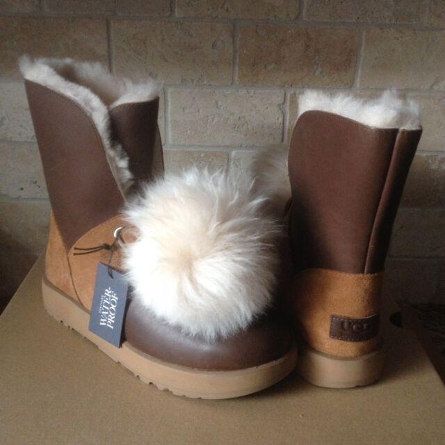 a22e4241eb7 UGG Isley Waterproof Chestnut Leather Sheepskin Pom Womens BOOTS Size US 10