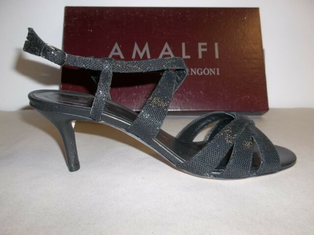 2a38af53c Amalfi by Rangoni Size 9.5 M Colle Black Glitter Heels Sandals New Womens  Shoes