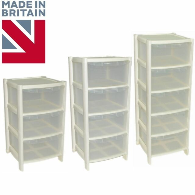 Cream Drawer Plastic Tower Storage Drawers Chest Unit With Wheels Made In U K
