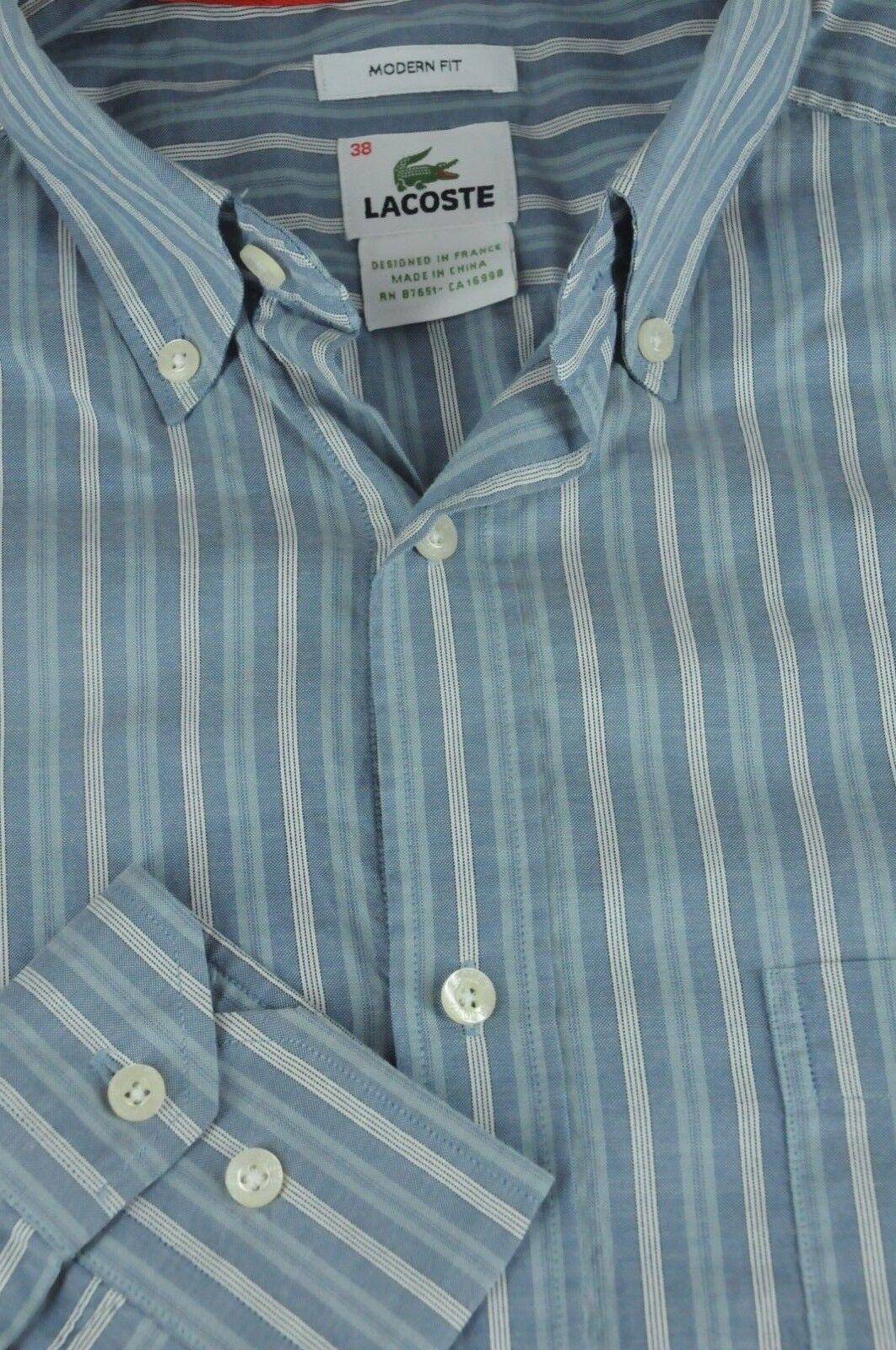 Lacoste Uomo Grigio & Righe Bianche Camicia di Cotone Casual M MEDIA Dimensione 38