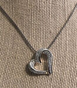 Estate-Sale-Sterling-Silver-925-CZ-Open-Heart-Pendant-amp-Necklace-18-034