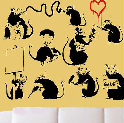 Banksy Burglar Rats Reusable Stencil Home Wall Decor Art Painting Ideal Stencils
