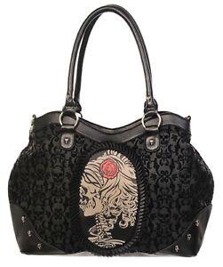 Gothic-Cameo-Skull-amp-Rose-Skeleton-Flocked-Handbag-Shoulder-bag-by-Banned-Black