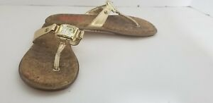 Michael-Kors-Gold-Women-039-s-Thong-Sandals-Size-3