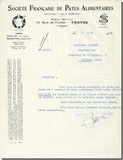 Lettre - Société Francaise de Pâtes Alimentaires 1932