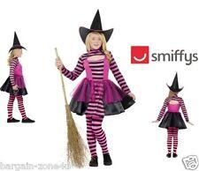 Smiffy's Stripe Dark Fairy Girls Kids Fancy Dress Halloween Party Witch Custome