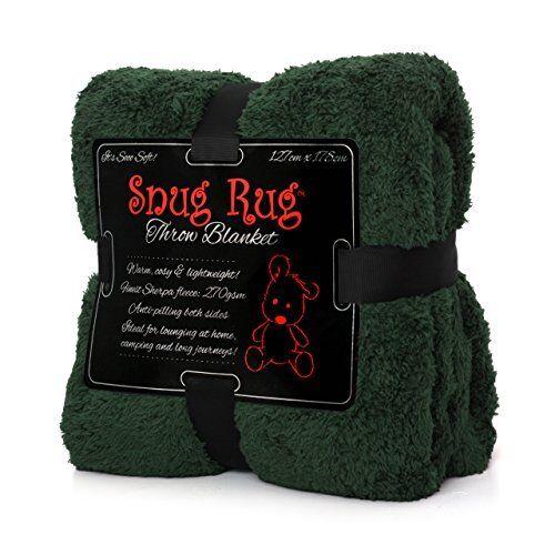 Snug Rug Special Edition Luxury Sherpa Fleece Snug Rug Throw Blanket, Racing Gre