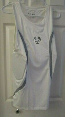 Under Armour Basketball Padded Compression Tank White or Burgundy 1232680   $59