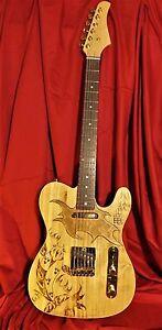 Custom-Tribal-Koi-Fish-Tattooed-Telecaster-Guitar-with-Custom-Wood-Pickguard