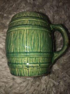 Vintage Nelson McCoy Green Barrel Mug Number 4 Pottery