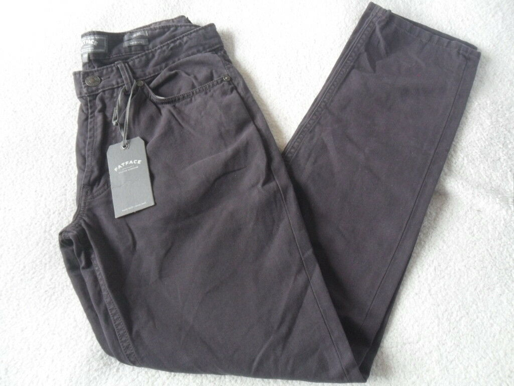 EX FAT FACE PURPLE COTTON SLIM STRAIGHT LEG LIGHTWEIGHT CANVAS TROUSERS 32 W R