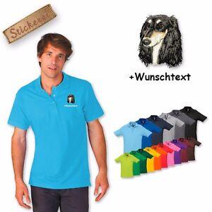 Polo Shirt Coton Brodé Broderie Chien Saluki Texte Personnalisé