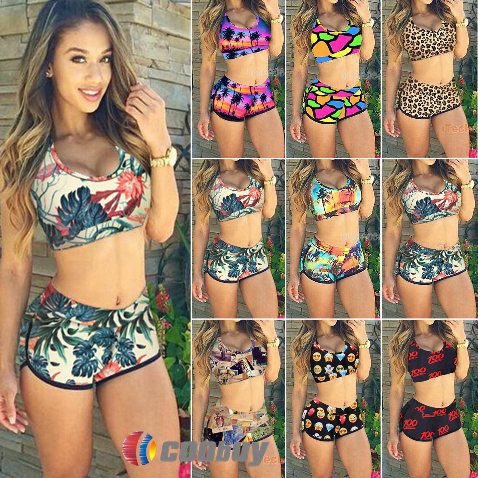 Damen Bikini Set Crop Top+Hochbund Bikinihose Badeanzug Bademode Schwimmanzug