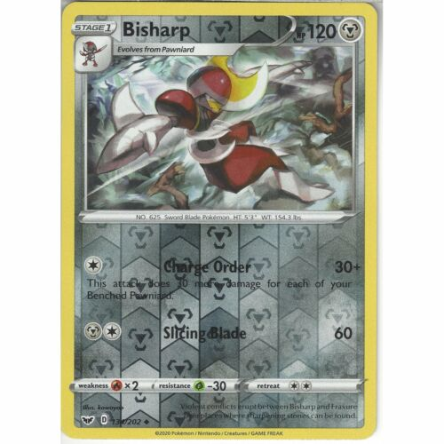 134//202 BisharpUncommon Reverse Holo Card Pokemon TCG Sword /& Shield Base Set