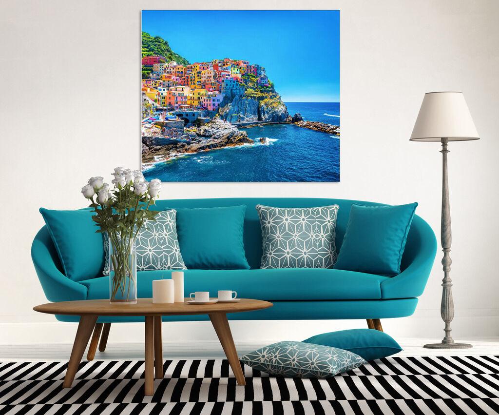 3D Bunte Stadt am Meer Fototapeten Wandbild BildTapete Familie AJSTORE DE
