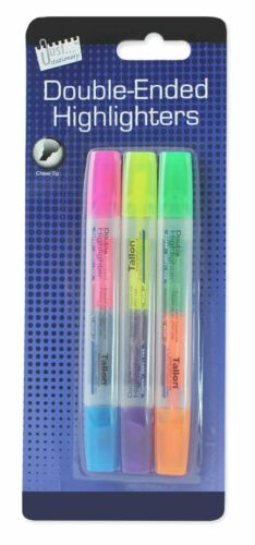 3 DOUBLE ENDED HIGHLIGHTERS Pink Blue Green Orange Yellow Purple SCHOOL OR WORK