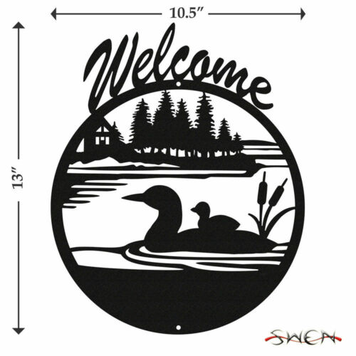 SWEN Products DUCK LOON Black Metal Welcome Sign