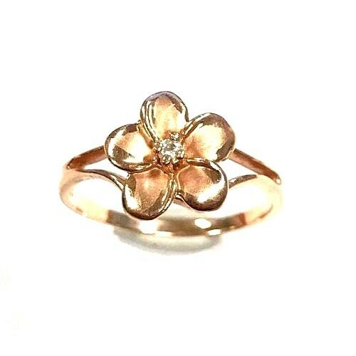 14 Karat pink gold Simple Pretty Floral Flower Petals Single Diamond Ring R24