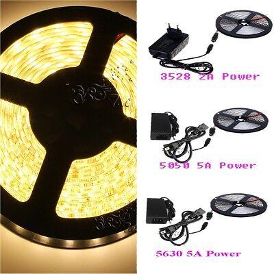 5M SMD 3528 5050 5630 300LEDs RGB White LED Strip Light 12V DC Power Supply