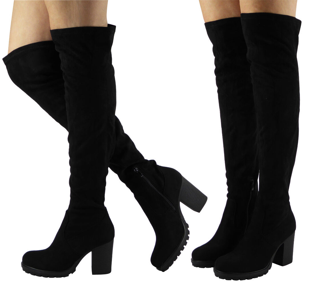 Womens Ladies Over The Knee Thigh High Long Block Heel Platform Boots Shoes Size