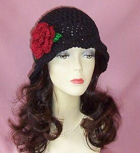 Black-Crochet-Flapper-Style-1920s-Cloche-Hat-Red-Flower