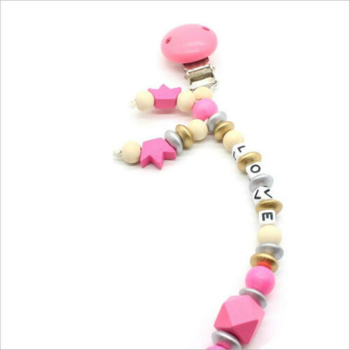 Wood Pacifier Clips Crown beads Beaded Pacifier Chain Baby molar toy