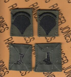 Enlisted SPECIALIST SIXTH CLASS SPEC-6 E-6 OD Green Black rank patch sewn set C