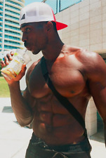 Shirtless Male African American Muscular Body Builder Hunk Drink PHOTO 4X6 D524