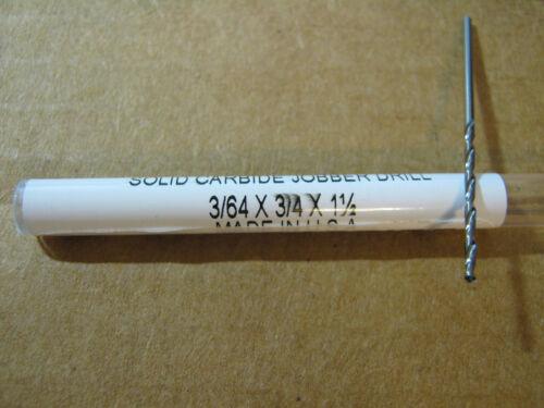 """.0469 3//64 JOBBER STD CARBIDE 25 deg HELIX 118 deg SPLIT PT DRILL /""""NEW/"""""""