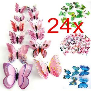 Image Is Loading 24x 3D Butterfly Sticker Art Design Vivid Decal