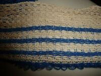 "#45A  vtg  4 yards off white & blue 3 1/4"" WIDE net trim edging"