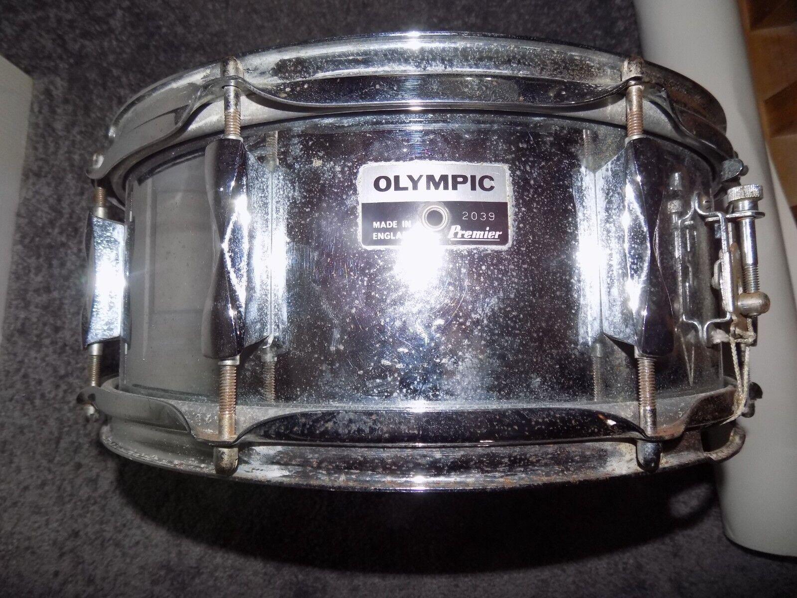 Vintage PREMIER OLYMPIC 8 Lug Snare Drum 1960`s   RARE MODEL  2039