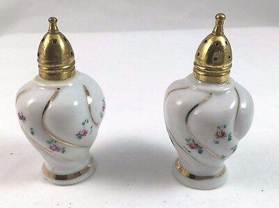Gold Footed Rose Floral Vintage Enesco Egg Salt /& Pepper Shaker Set Japan White Porcelain